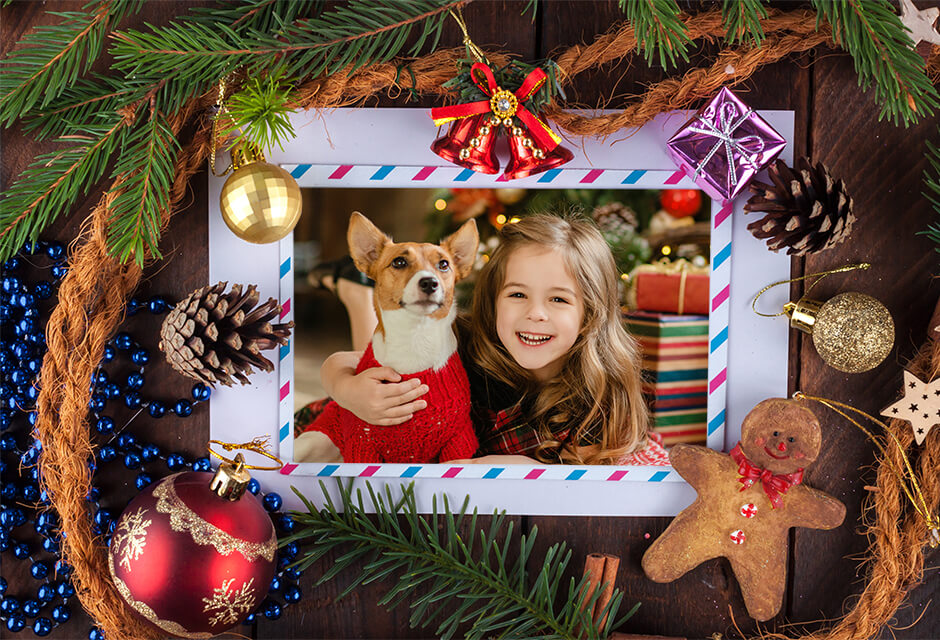 Photo Example after the use of Christmas photo frames Retouching Feature