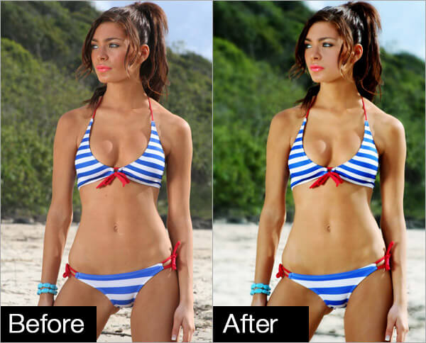 Bikini models before and after photoshop