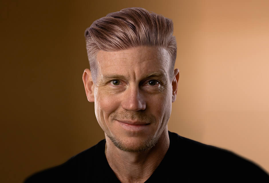 Photo Example after the use of Men hairstyle Retouching Feature